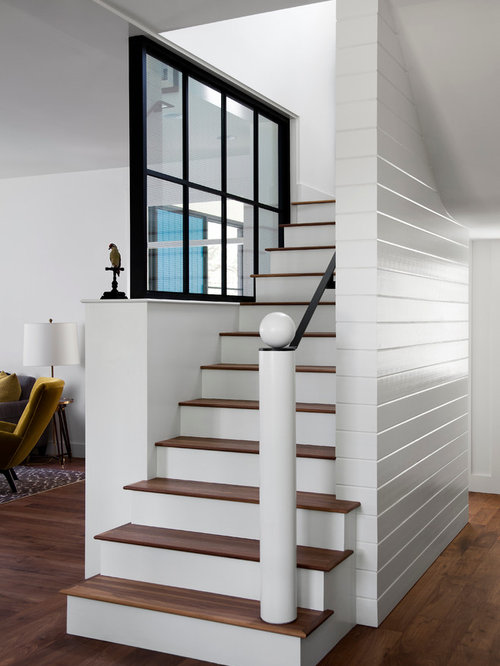 Charming Example Of A Country Wooden Staircase Design In Austin