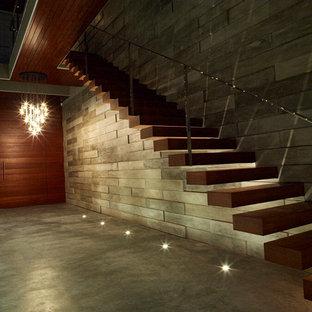 Idéer för funkis flytande trappor i trä, med öppna sättsteg
