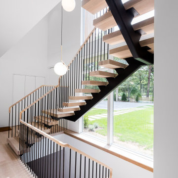 Modern Floating Stair with Pencil Rail, East Hampton, NY