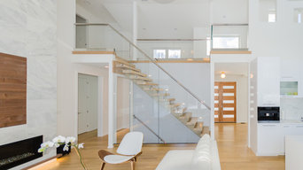 Modern Floating Stair with Steel & Glass