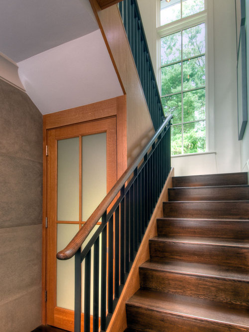 inspiration for an asian wooden u shaped metal railing staircase remodel in boston - Small Guest Bathrooms