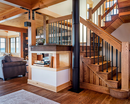 Marvelous Staircase   Rustic Wooden U Shaped Mixed Material Railing Staircase Idea In  Boston