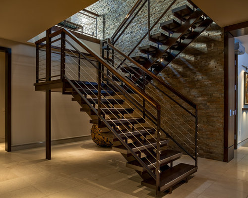 Trendy U Shaped Open Staircase Photo In Omaha