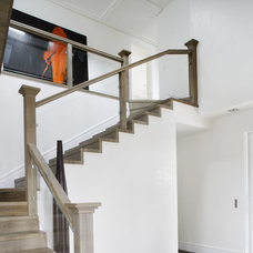 Contemporary Staircase by Lignum Elite - wide plank flooring