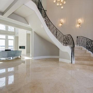 Modern Mediterranean Lake Villa Staircase