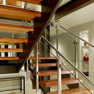 サンフランシスコの中サイズの木のモダンスタイルのおしゃれなフローティング階段 (木の蹴込み板) の写真