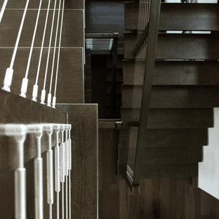 ニューヨークの大きい木のモダンスタイルのおしゃれな階段 (ワイヤーの手すり) の写真