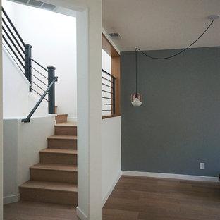 modern oak stair with metal railing