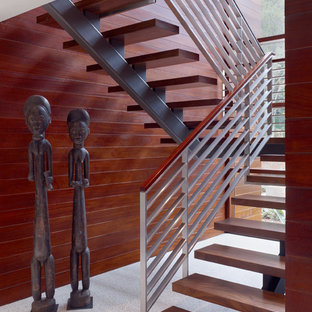 Staircase - modern wooden u-shaped open staircase idea in San Francisco