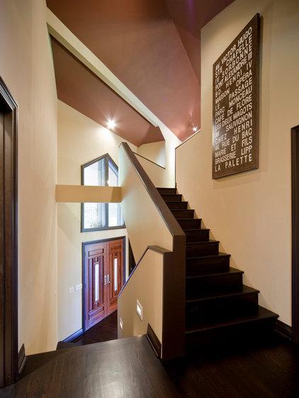 Contemporary Staircase by Rebecca Elliott Interior Design, LLC