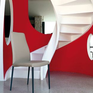 Example of a small trendy painted spiral staircase design in Cheshire