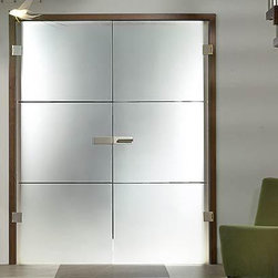 "Full Glass Doors - ""Finea"" - ""Finea"" is a bold design ideal for grand entrances that deserve a delicate designer detail.  Use with hinges or make them into a sliding door with Bartels Modern Barn Door Hardware."