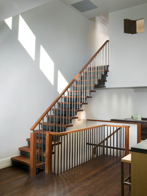 Awesome Inspiration For A Contemporary Wooden Straight Metal Railing Staircase  Remodel In New York