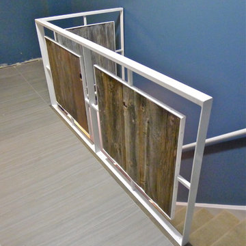 Modern Steel and Wood Stair Railing @ Delane + Chucky's