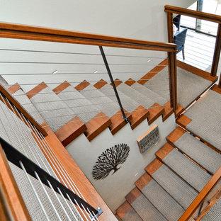 ポートランドの中サイズのカーペット敷きのモダンスタイルのおしゃれな階段 (ワイヤーの手すり) の写真