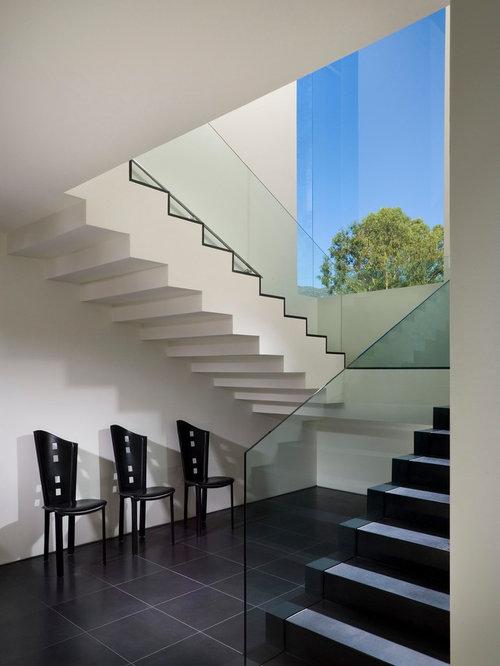 photos et id es d co d 39 escaliers avec des contremarches en verre et des marches en carrelage. Black Bedroom Furniture Sets. Home Design Ideas