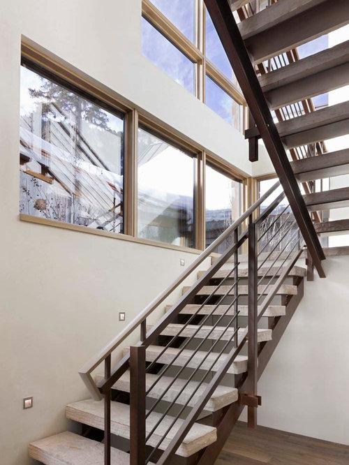 Horizontal metal railing home design ideas renovations