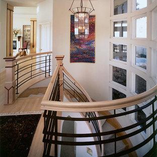Imagen de escalera curva, contemporánea, grande, con escalones con baldosas, contrahuellas con baldosas y/o azulejos y barandilla de madera
