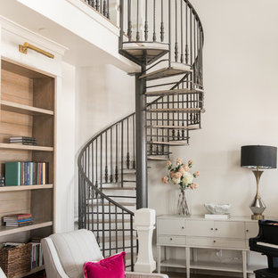 Mid-sized transitional metal spiral open and metal railing staircase photo in Salt Lake City