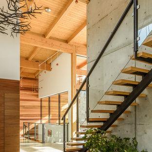 Ispirazione per una grande scala a rampa dritta minimalista con pedata in legno e nessuna alzata