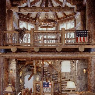 Ejemplo de escalera de caracol rústica