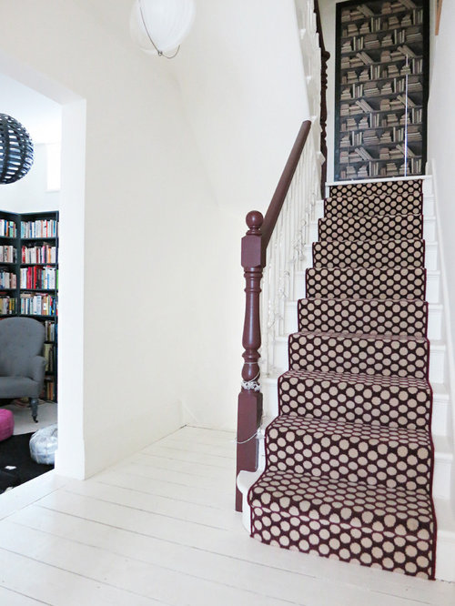 eclectic staircase photo in london - Farrow And Ball Brinjal
