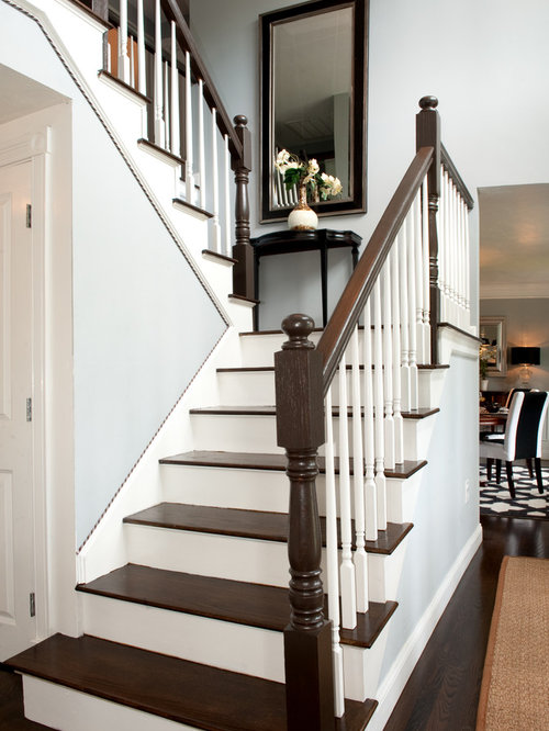Elegant Wooden U Shaped Staircase Photo In Boston