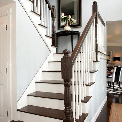 Elegant wooden u-shaped staircase photo in Boston