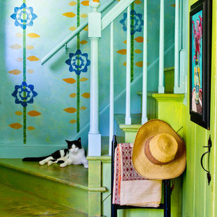Country painted staircase photo in New York with painted risers