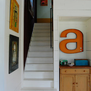 Inspiration for a farmhouse staircase remodel in New York