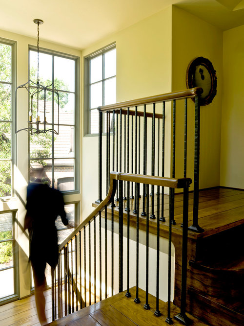 Traditional Wooden Wood Railing Staircase Idea In Chicago