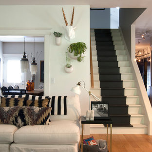 Staircase - mid-sized eclectic staircase idea in Cleveland