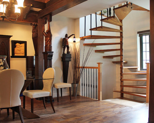 Example Of An Eclectic Spiral Staircase Design In Montreal