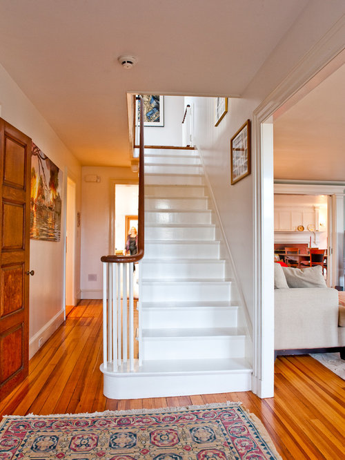 Staircase   Traditional Painted Wood Railing Staircase Idea In Boston