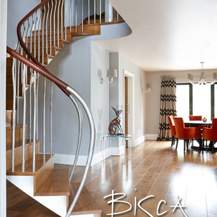Staircase - mid-sized modern wooden curved staircase idea in Other with wooden risers