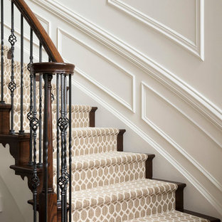 Large transitional carpeted curved mixed material railing staircase photo in DC Metro with carpeted risers