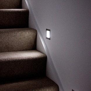 他の地域の小さいカーペット敷きのコンテンポラリースタイルのおしゃれな折り返し階段 (カーペット張りの蹴込み板) の写真