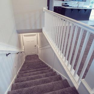 ボイシの中くらいのトラディショナルスタイルのおしゃれな直階段の写真