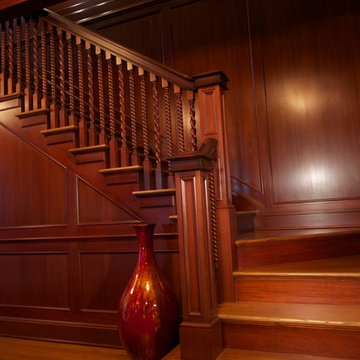 New Jersey Residence Mahogany Foyer Paneling and Millwork