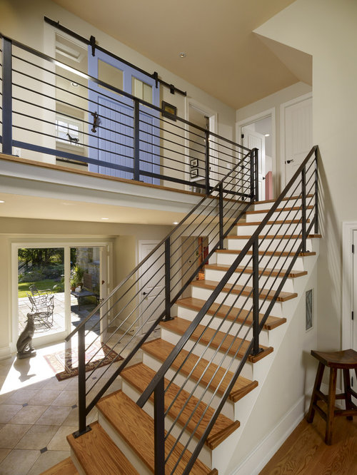 Lighting Basement Washroom Stairs: Contemporary Stair Railing Home Design Ideas, Pictures