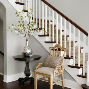 Staircase - traditional wooden l-shaped staircase idea in Chicago with painted risers