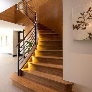 Inredning av en modern mellanstor svängd trappa i trä, med sättsteg i trä