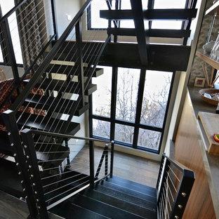 ソルトレイクシティの大きい木のコンテンポラリースタイルのおしゃれなフローティング階段 (金属の蹴込み板、ワイヤーの手すり) の写真
