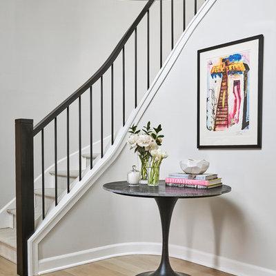 Transitional curved metal railing staircase photo in Chicago
