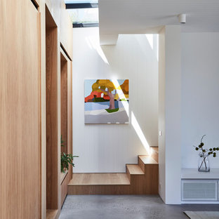 Design ideas for a contemporary wood straight staircase in Melbourne with wood risers.
