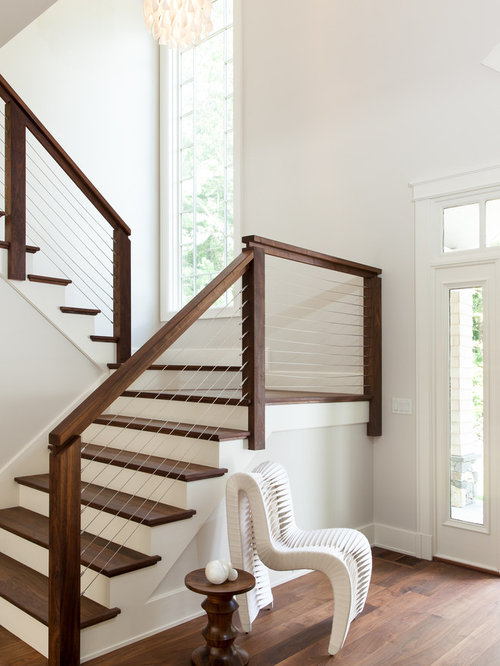 Large Transitional Wooden U Shaped Cable Railing Staircase Photo In Boston