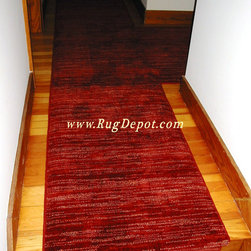 Nourison Wool Red Carpet - Nourison Red Carpet -  Wool - Carpet Custom Cut and Serged to make Stair Runner and Landing Runner.  Installation by RugDepot.com