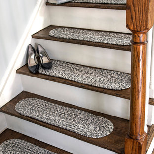Example of a transitional staircase design in New York