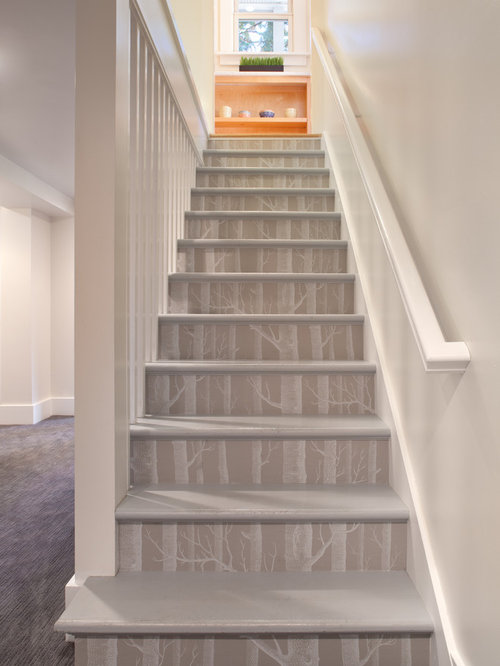 Replace stair treads and risers houzz for Painted stair treads