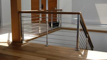 Oak & Stainless Steel Interior Railing
